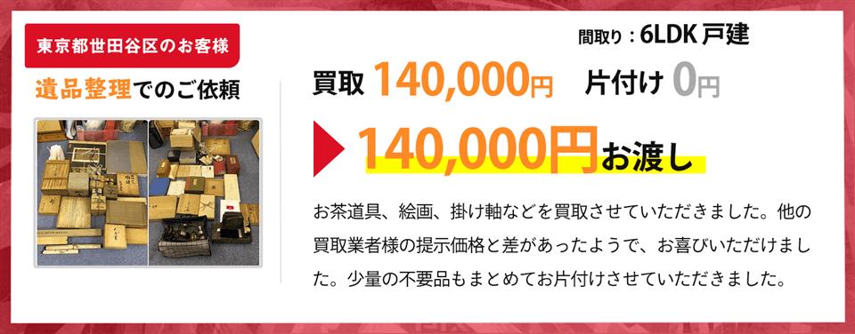 東京都世田谷区のお客様、遺品整理での依頼の方の買取実績