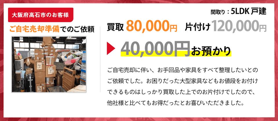 大阪府高石市のお客様、お引越し準備での依頼の方の買取実績
