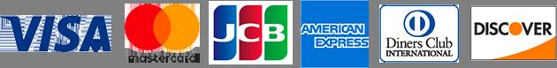 VISAカード・マスターカード・JCBカード・アメリカンエキスプレスカード・ダイナースクラブカード・ディスカバーカードがご利用いただけます