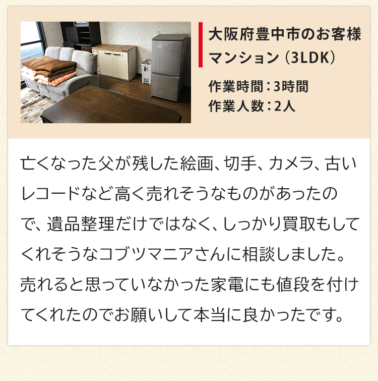 マンション3LDK、大阪府豊中市のお客様からいただいたお声。亡くなった父が残した絵画、切手、カメラ、古いレコードなど高く売れそうなものがあったので、遺品整理だけではなく、しっかり買取もしてくれそうなコブツマニアさんに相談しました。売れると思っていなかった家電にも値段を付けてくれたのでお願いして本当に良かったです。