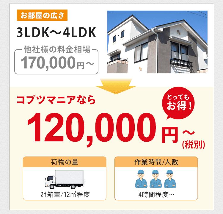 お部屋の広さ3LDK~4LDK(一軒家)の他社様の料金相場は約170,000円~です。コブツマニアなら120,000円~とかなりお得です。荷物の量は2トン箱車12㎡程度です。作業人数は3名で、作業時間は4時間~が目安です。
