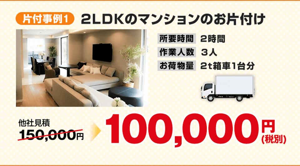 事例1)2LDKのマンションのお片付け、100,000円