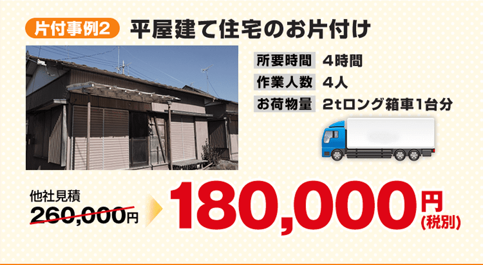 事例2)平屋建て住宅のお片付け、180,000円