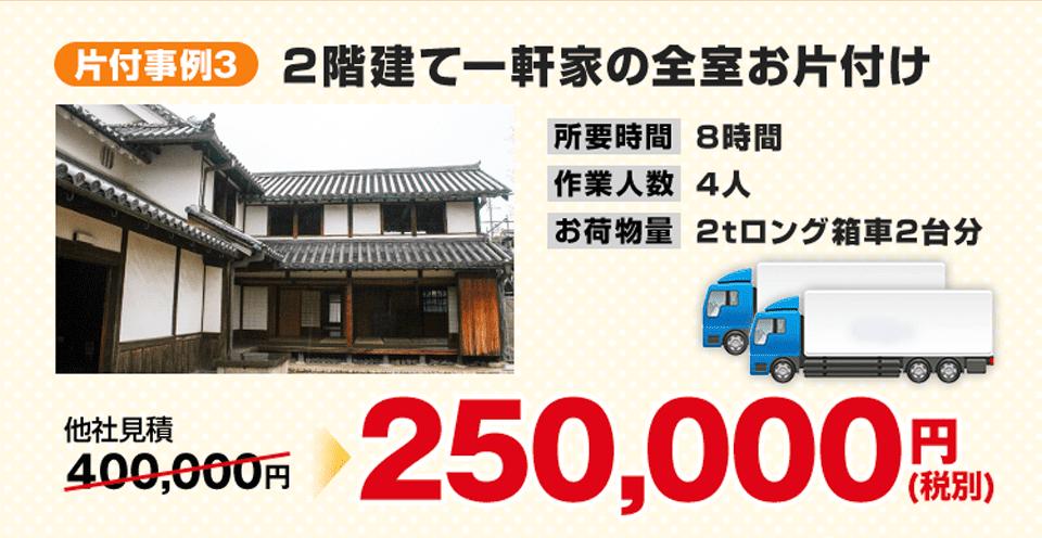 事例3)2階建て一軒家の全室お片付け、250,000円