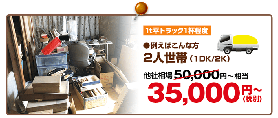 1t平トラック1杯程度、35,000円~