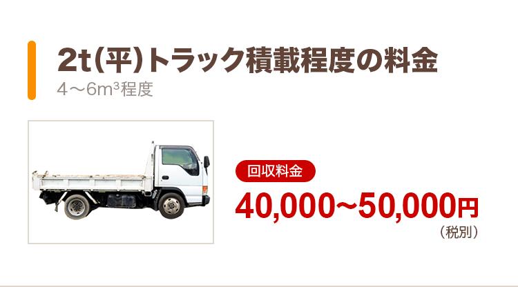 2t(平)トラック積載程度の料金(4〜6m3程度):回収料金40,000〜50,000円(税別)