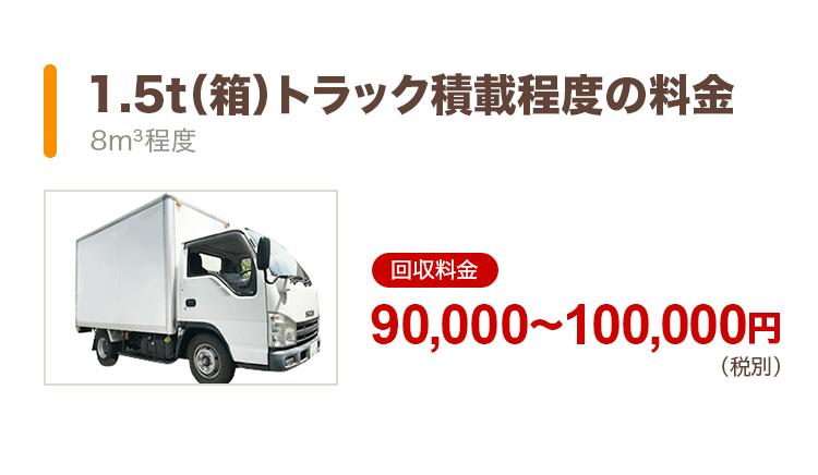 1.5t(箱)トラック積載程度の料金(8m3程度):回収料金90,000〜100,000円(税別)