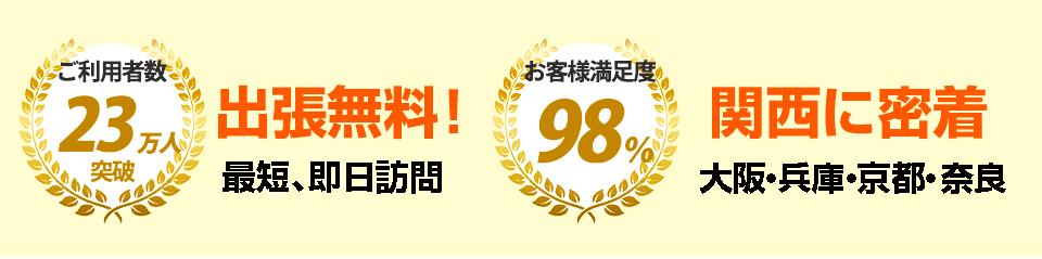 ご利用者23万人突破!出張無料で最短スピード即日訪問します。お客様満足度98%!関西に密着で大阪・兵庫・京都・奈良が対応エリアです。