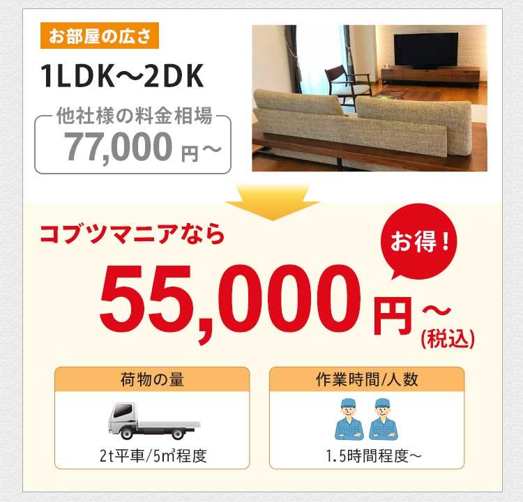 お部屋の広さ1LDK~2DKの他社様の料金相場は約77,000円~です。コブツマニアなら55,000円~(税込)とお得です。荷物の量は2トン平車5㎡程度です。作業人数は2名で、作業時間は1.5時間~が目安です。
