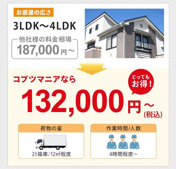 お部屋の広さ3LDK~4LDK(一軒家)の他社様の料金相場は約187,000円~です。コブツマニアなら132,000円~(税込)とかなりお得です。荷物の量は2トン箱車12㎡程度です。作業人数は3名で、作業時間は4時間~が目安です。