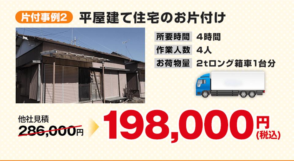 事例2)平屋建て住宅のお片付け、198,000円(税込)